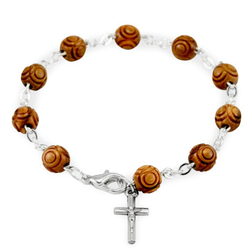 Hand Carved Wooden Beads Rosary Catholic Bracelet