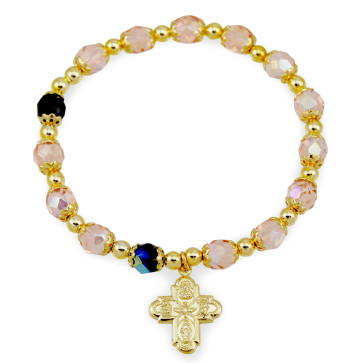 Four Way Cross Catholic Rosary Bracelet