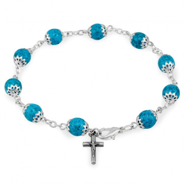 Moonstone Capped Beads Catholic Rosary Bracelet