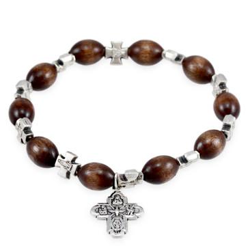 Rosary Bracelet Wooden Beads Four Way Cross