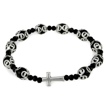 Black Glass Beads Filigree Rosary Bracelet