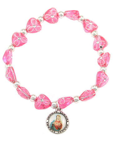 Catholic Rosary Bracelet, Sacred Heart of Mary Medal
