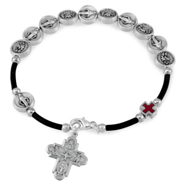 Miraculous Metal Bracelet with Red Cross