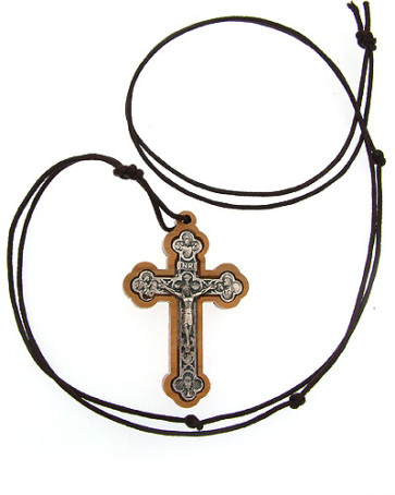 Olive Wood Crucifix Catholic Pendant