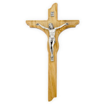 Catholic Olive Wood Wall Crucifix - 12 in