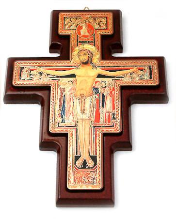 Catholic Wooden San Damiano Wall Crucifix