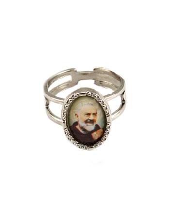 Padre Pio Silver Catholic Ring