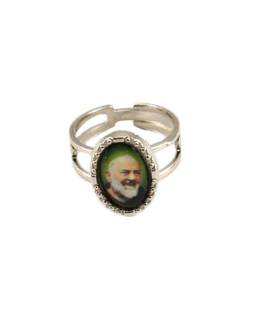 Padre Pio Silver Catholic Ring