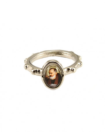 Padre Pio Silver Catholic Rosary Ring