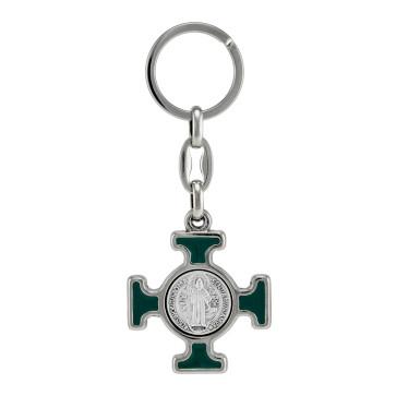 St. Benedict Celtic Cross Catholic Keychain