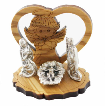 Nativity Scene olive wood Manger Angel