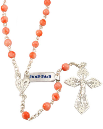 Authentic Coral Pearl Beads Catholic Rosary