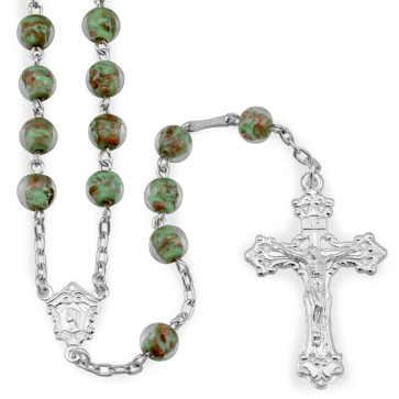 Gold Fleck Glass Beads Catholic Rosary