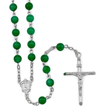 Shamrock Agate Beads Catholic Rosary