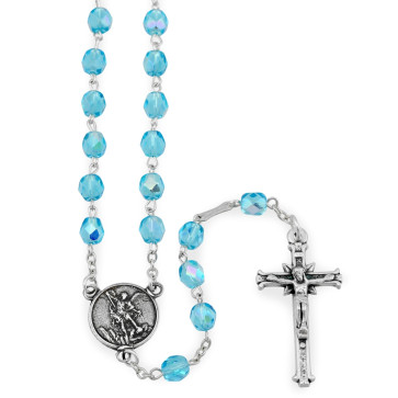 St. Michael Rosary with Aqua Crystal Beads