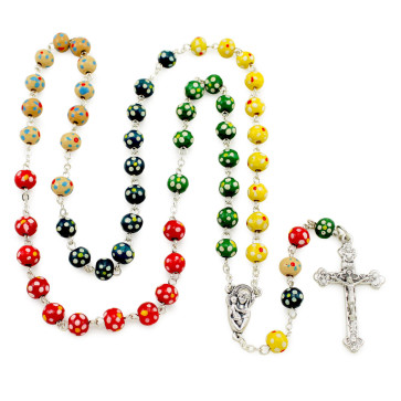 Multicolor Wood Beads Rosary