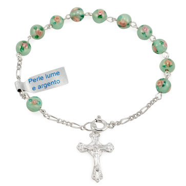 Sterling Silver Rosary Bracelet with Green Beads