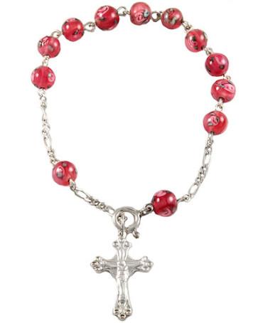 Pink Beads Sterling Silver Rosary Bracelet