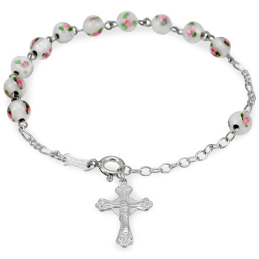 White Beads with Sterling Silver Rosary Catholic Bracelet