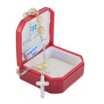 Rosary Catholic Bracelet with Gold Glass Beads