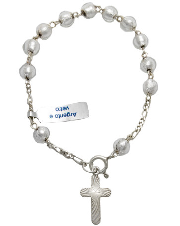 Rosary Bracelet, Silver Glass Beads