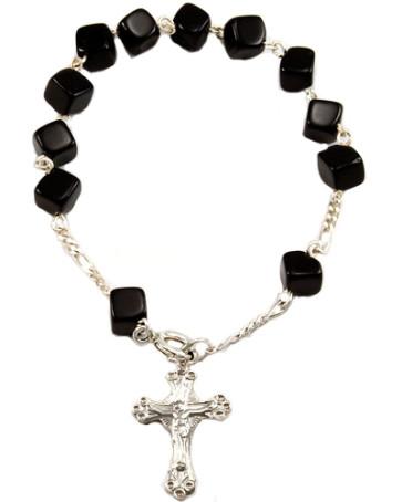 Onyx Square Beads Catholic Rosary Bracelet
