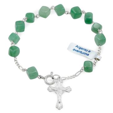 Aventurina Beads Catholic Rosary Bracelet