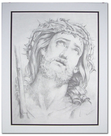 Catholic - Crown of Thorns with Black Trimmed Mat