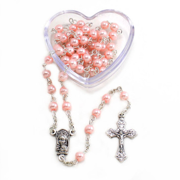 Pink Pearl Rosary with Heart Shaped Box