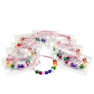 First Communion Favor with Pink String Rosary Bracelet with Multicolored Beads - 10 pieces