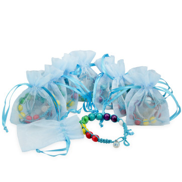First Communion Favor with 10 Multicolored Bracelets with Light Blue String