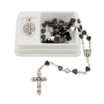 Hematite Hearts Beads Rosary Gift Set
