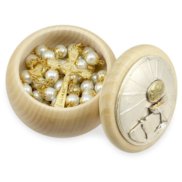 First Communion Gift Set with Lady of Lourdes Rosary and Wooden Polish Box