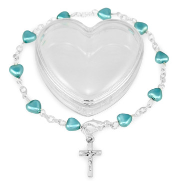 Blue Heart Beads Rosary Bracelet Gift Set