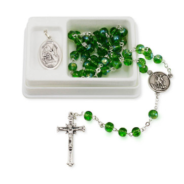 St. Michael Green Crystal Beads Rosary Gift Set