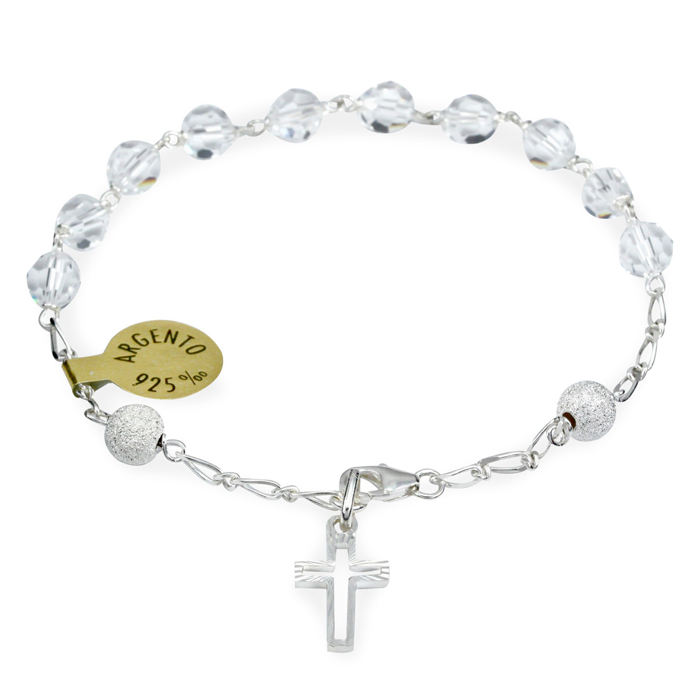 Clear Swarovski Crystals Rosary Bracelet With Sterling