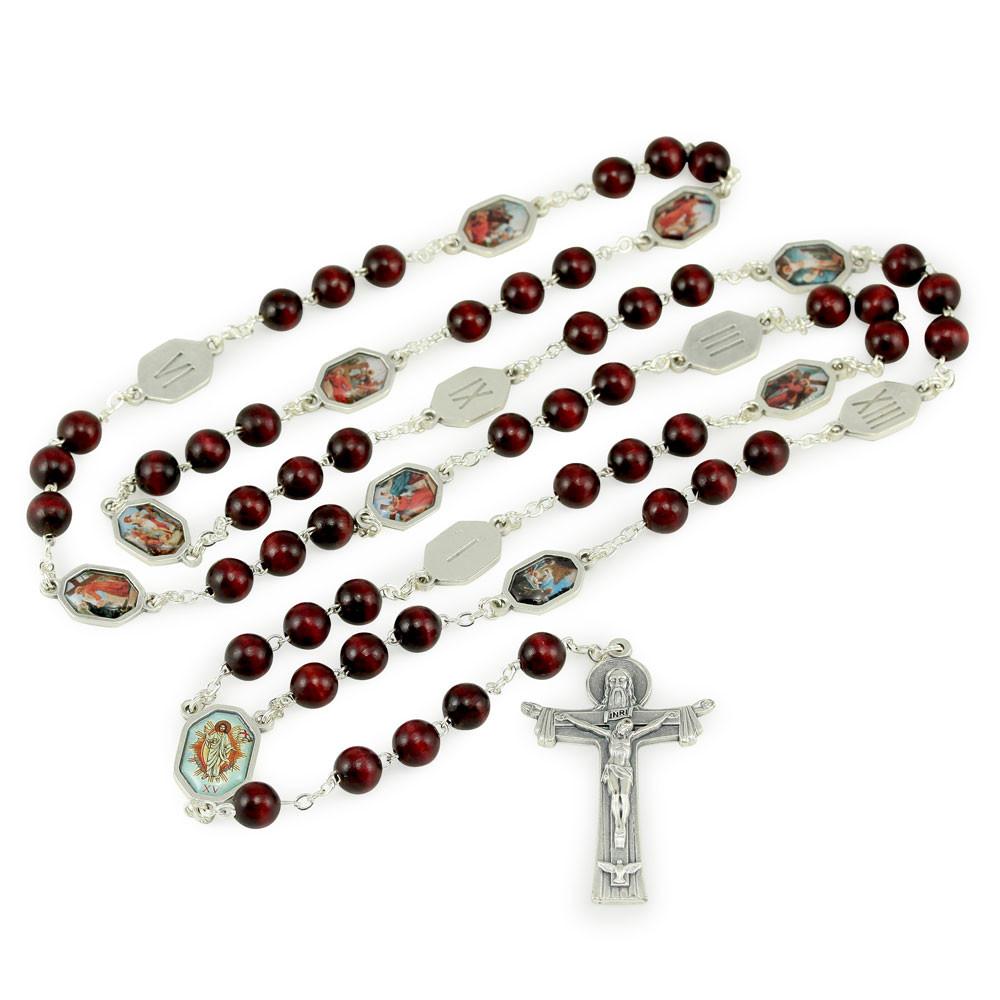 Roman Multi-colored Wood Bead Rosary