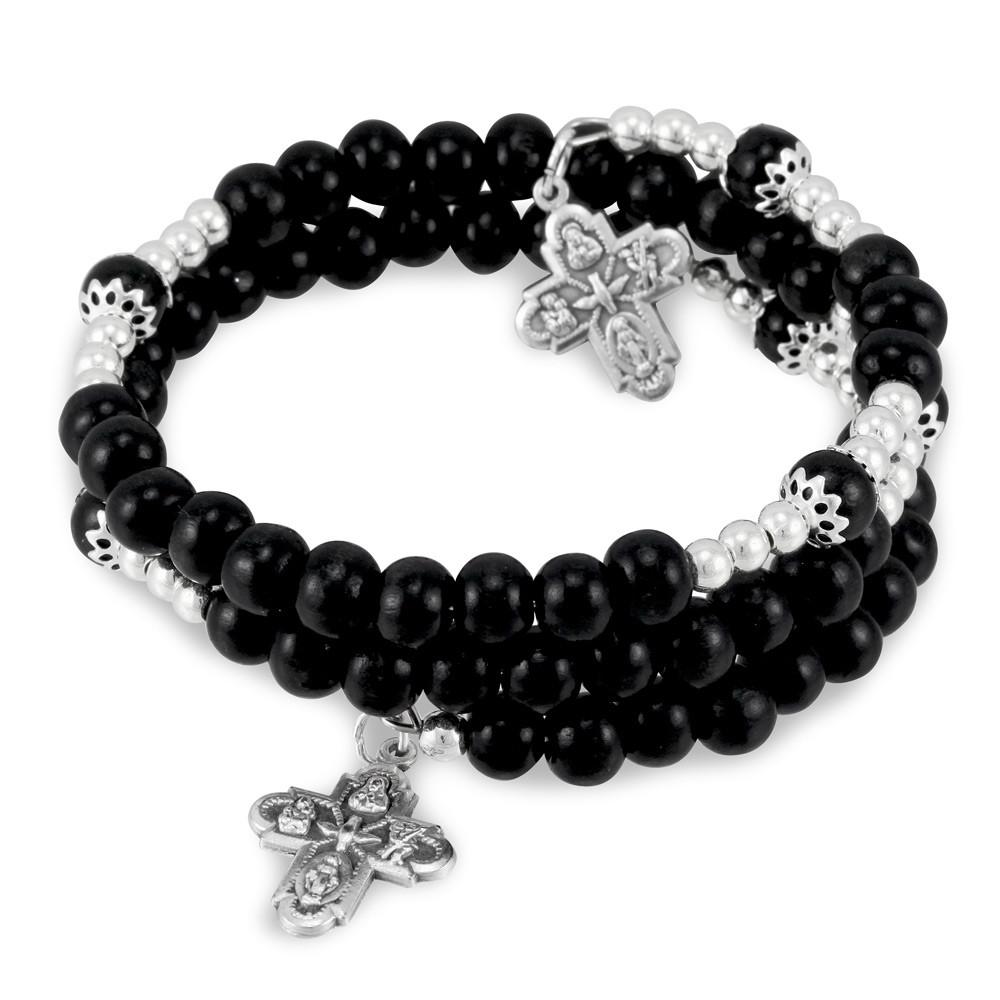 White Wooden Single Decade Catholic Rosary Ring with FREE Black Satin Gift Bag