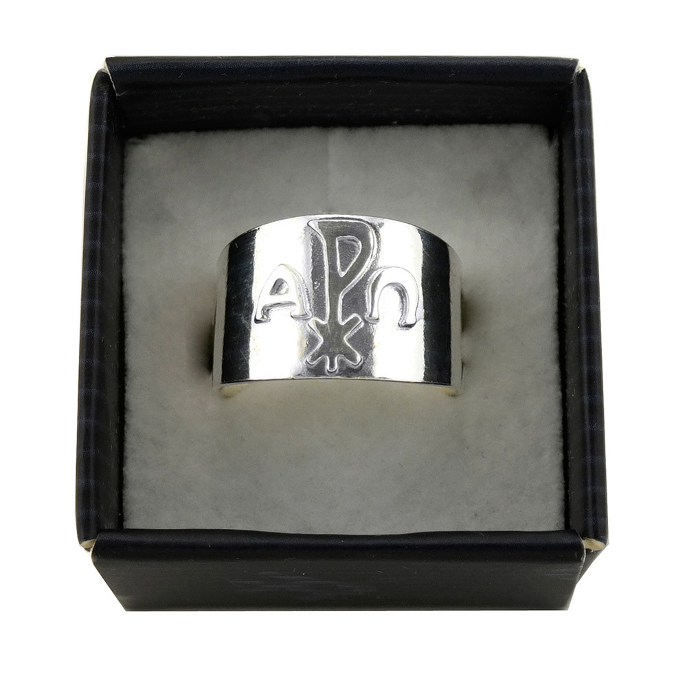 Alpha and omega sterling silver ring in catholic jewelry