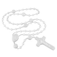 St. Benedict White Plastic Beads Rosary
