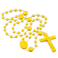 Miraculous Medal Yellow Plastic Beads Rosary