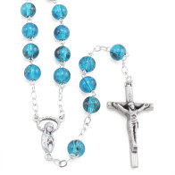 Blue Glass Rosary Beads with Mary and Stars
