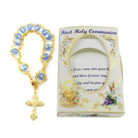 First Communion Gift - Rosary Bracelet Ladder Design with Blue Beads