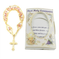 First Communion Gift for Girls - Rosary Bracelet Ladder Design with Peach Beads