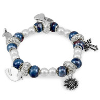 Rosary Bracelet Blue Mosaic Capped Beads with Pendants