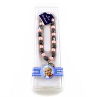 Rosary Bracelet - Pink and Hematite Saint John Paul II Rosary Bracelet