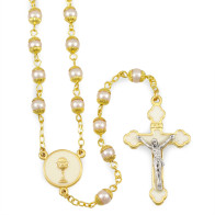 First Communion Set with a Polish Wooden Box and Communion Chalice Rosary