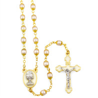 First Communion Gift Set with Pearl Beads Rosary and Olive Wood Box