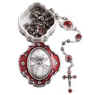 Holy Spirit Round Beads Rosary and Rosary Box Gift Set