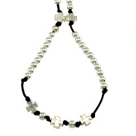 Rosary Beads Necklace with Polished Silver Finish Beads & Crosses